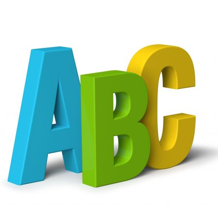 Colour block letters ABC isolated on white 3D, literacy concept